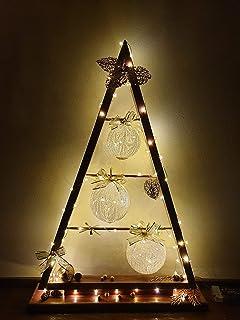 Albero di Natale in Legno, Rosso Dorato, Decorazione Natalizio/Capodanno/Feste