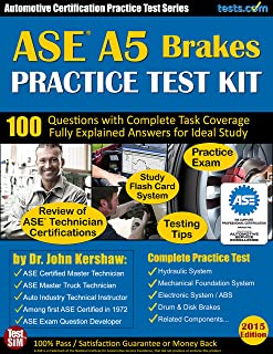 ASE A5 (Brakes) Practice Test Kit - Automotive Certification Practice Test Series: Questions Fully Explained for Ideal Study; Flash Card Study System; Exam Review