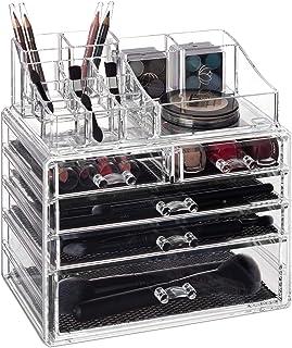 Relaxdays Organizador para Maquillaje Cinco cajones Caja de almacenaje para Brochas & Pintalabios Transparente