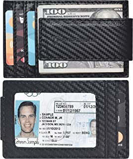 Money Clip Slim Wallets for Men - Magnetic Leather Mens wallet with RFID Front Pocket Card Holder ID Window