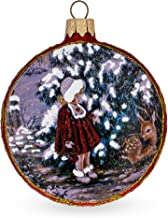 BestPysanky Vintage Style Little Girl and the Deer Decoupage Glass Christmas Ornament