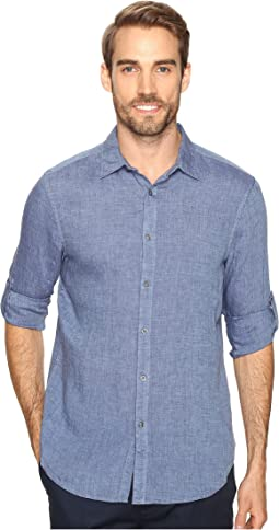 Rolled Sleeve Solid Linen Shirt