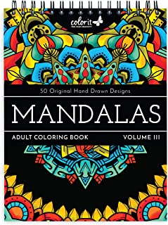 ColorIt Mandalas III Adult Coloring Book - 50 Single-Sided Designs, Thick Smooth Paper, Lay Flat Hardback Covers, Spiral B...