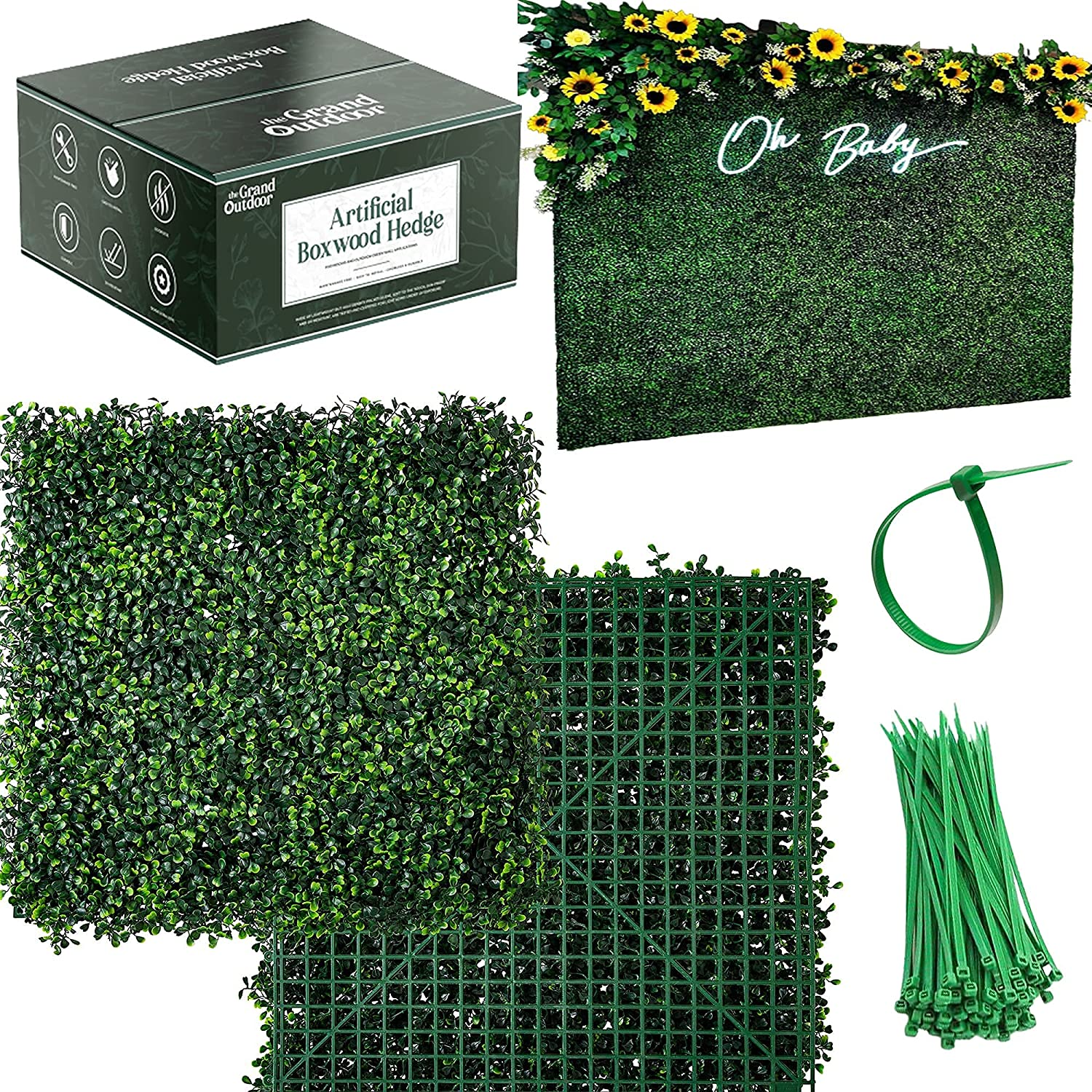 The Grand Outdoor Grass Wall Panels - 12x 20in Bushy Artificial Boxwood Panel Squares and 30x Ties. Artificial Grass Wall Decor, Fake Plant Wall Outdoor Privacy Screen, Greenery Backdrop