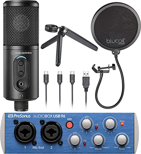 new arrival Audio-Technica ATR2500x-USB Cardioid Condenser Microphone (ATR lowest Series) Bundle with PreSonus AudioBox USB 96 2x2 USB Audio Interface for Windows and Mac, and Blucoil wholesale Pop Filter Windscreen online