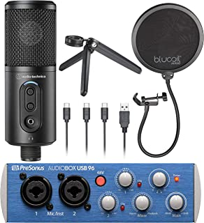 Audio-Technica ATR2500x-USB Condenser Microphone for Voiceover, Podcasting, Home Recording Bundle with AudioBox USB 96 2x2...