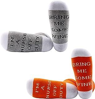 JXGZSO Nurse Gift Nurse Socks I'm a Nurse Off Duty Bring Me Some Wine Socks Nurses Appreciation Gift