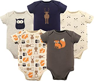 HUDSON BABY Unisex Baby Cotton Bodysuits, Woodland Creatures 5 Pack, 3-6 Months (6M)