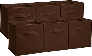 Amazonベーシック 収納ボックス 収納キューブケース 折りたたみ式 6点セット ブラウン