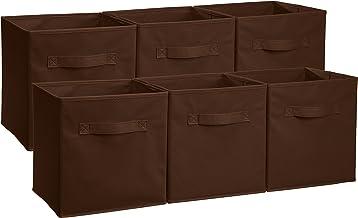 AmazonBasics – pudełka do przechowywania w kształcie kostki, składane, 6 sztuk, brązowe