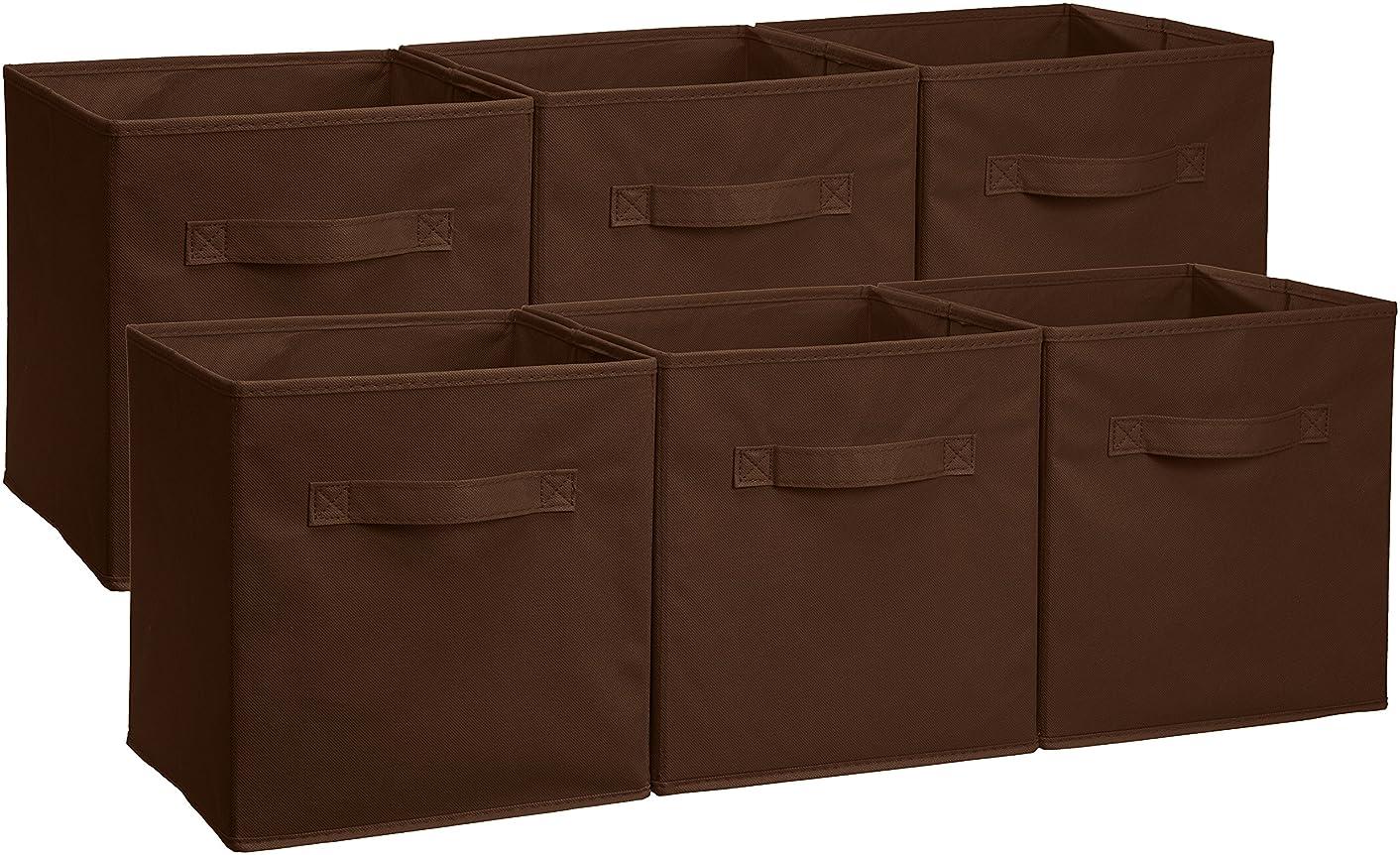 AmazonBasics Foldable Storage Bins Cubes Organizer, 6-Pack, Brown