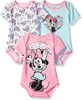 Disney para bebé niña Minnie Mouse 3Paquetes de Monos, Multi/algodón de azúcar Rosa, 12m