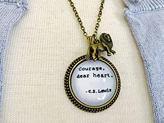 Courage Dear Heart Necklace, C.S. Lewis quote, Aslan jewelry