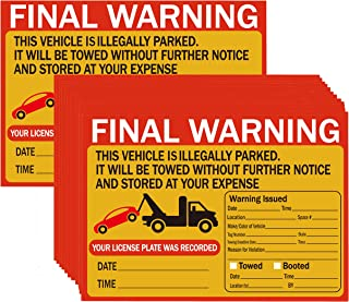Parking Violation Stickers Tow Stickers for Car Vehicle 50 Pcs Private Parking Warning Stickers Adhesive Car Window Fluorescent Labels 5.5X7.5 inch (Fluorescent Orange)