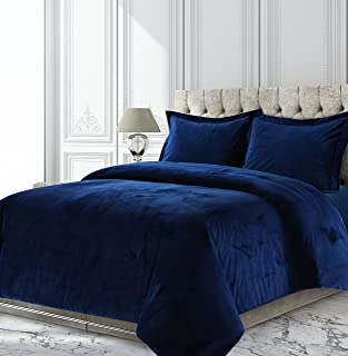 Tribeca Living VENICEDUVETKINB Venice Velvet Oversized Solid Duvet Set, King, Navy Blue
