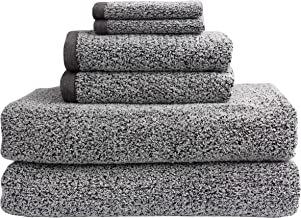 Everplush Diamond Jacquard Towels Recycled 6 Piece Bath Sheet Towel Set, Grey, 2 Bath Sheet Towels, 2 Hand Towels, 2 Washc...