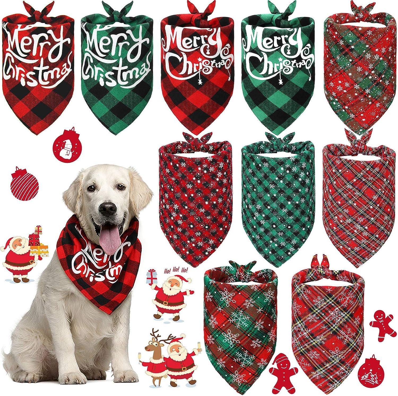 10 Pieces Christmas Dog Bandana Triangle Classic Ranking TOP2 T SALENEW very popular Plaid