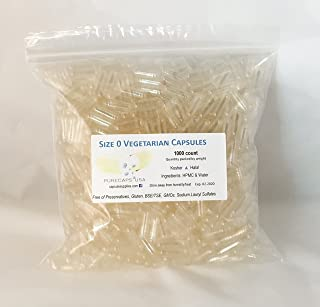"PurecapsUSA Empty Vegetarian Capsules – Size ""0"" – 1000 Fillable Caps – Kosher/Halal – Hypoallergenic – Vegan - GMO Free"