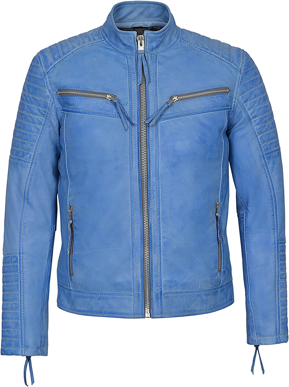 Mens New Blue Crust Napa Stitch Diamond Quilted Celebrity Lambskin Soft Leather 2565