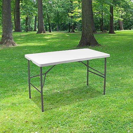 SKYLANTERN Table Pliante 120 cm d'Appoint Rectangulaire Blanche - Table de Camping 6 Personnes L120 x l60 x H74cm en HDPE Haute Densité Épaisseur 3,5 cm - Nouveau Modèle 2021 Emballage Renforcé