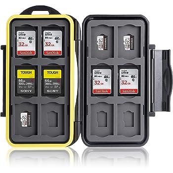 Ares Foto® Boîtier de protection pour cartes mémoire: 12 SD + 12 Micro SD Cards. Étui de Transport étanche antichocs. Conservation & Déplacement. Boîte plastique. Revêtement en caoutchouc breveté.