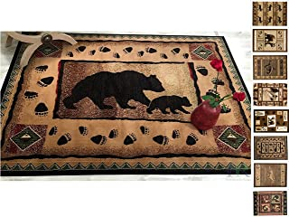 """HR-Cabin Rug–Lodge, Cabin Nature and Animals Area Rug–Modern Geometric Design Cabin Area Rug–Abstract, Brown/Green/Red–Mother Bear/Cub/Footprint (5'2"""" x 7'2"""")"""