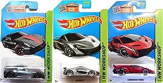 Lamborghini Red Veneno Silver Mclaren & Ferrari Speed Set of Hot Wheels 3 cars 2015 IN PROTECTIVE CASES