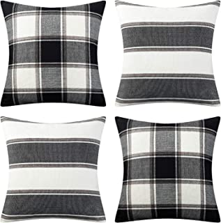 AmHoo Pack of 4 Farmhouse Classic Throw Pillow Covers Square Cushion Cover Plaid Stripe Checker Decoration Euro Pillowcase Set with Hidden Zipper Black 18x18Inch