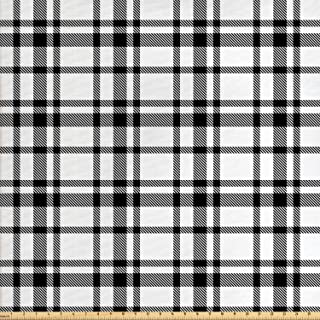 Ambesonne Plaid Fabric by The Yard, Black and White Tartan Pattern Graphic Grid Art Design with Traditional Influences, Decorative Fabric for Upholstery and Home Accents, 3 Yards, Black and White