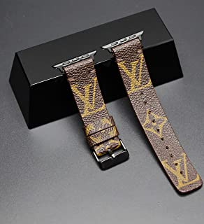 Apple Watch Band Re-purposed Classic Brown LV Monogram 38mm, 40mm, 42mm, 44mm Compatible For Iwatch Series