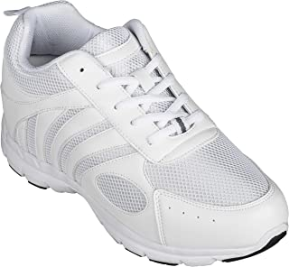 Men's Invisible Height Increasing Elevator Shoes - White Leather/Mesh Lace-up Super Lightweight Trainer Sneakers - 3 Inches Taller - G3303