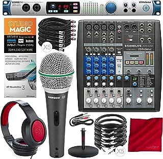 PreSonus Studio 192 Mobile 22x26 USB Audio Interface Studio Command Center and StudioLive AR8 USB 8-Channel Mixer with Studio One 3 Upgrade, Samson Headphones & Premium Music Creation Studio Bundle