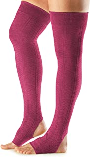 toesox Women's Wool Thigh High Ribbed Knit Open Heel Leg Warmer for Dance, Yoga, and Fashion
