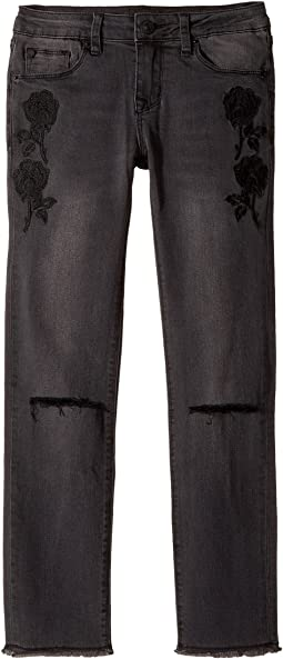 Hudson Kids - Iris Ankle Embroidered Flower Jeans in Black Ink (Big Kids)