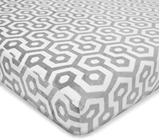 TL Care Heavenly Soft Chenille Fitted Pack 'n Play Playard Sheet, Gray Honeycomb, for Boys and Girls