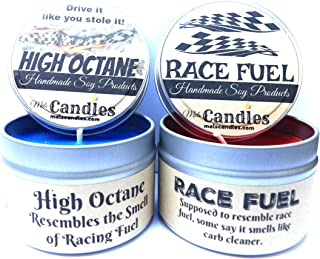 Combo Set - 4oz High Octane & 4oz Race Fuel Soy Candle Tins - Great Gift for Men & Race Fans