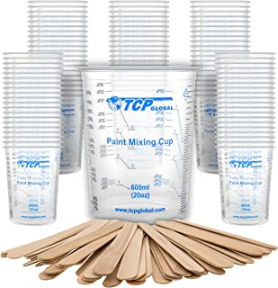 TCP Global 20 Ounce (600ml) Disposable Flexible Clear Graduated Plastic Mixing Cups - Box of 100 Cups & 50 Mixing Sticks -...