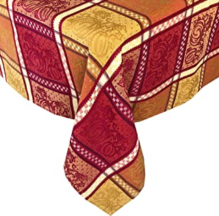 """Lintex Pumpkin Festival Jacquard Thanksgiving and Fall Harvest Cotton Fabric Tablecloth - Pumpkin Gingham Autumn Jacquard Cotton Weave Kitchen and Dining Room Tablecloth, 70"""" Round"""