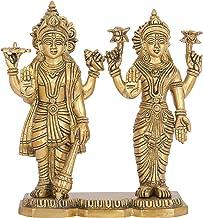 Shri Narayan with Devi Lakshmi - Brass Statue