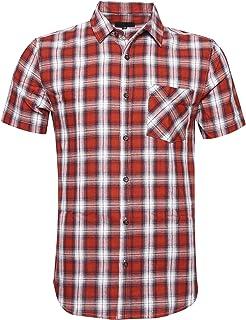 ALTOGUSTO Men's Short Sleeve Button Down Colourful Plaid Work Casual Western Shirt