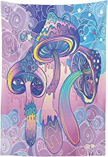 Lunarable Mushroom Tapestry, Trippy Drawing Hippie Design Sixties Visionary Psychedelic Shamanic, Fabric Wall Hanging Decor for Bedroom Living Room Dorm, 30