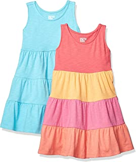 0e3007c20ca8 Spotted Zebra Girls' Toddler & Kids 2-Pack Knit Sleeveless Tiered Dresses