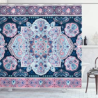 Ambesonne Mandala Decor Shower Curtain by, Eastern Paisley Pattern Henna Karma Hidden Universe Arabesque Floral Print, Fabric Bathroom Decor Set with Hooks, 84 Inches Extra Long, Purple Blue