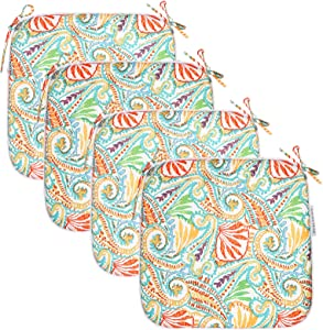 EAGLE PEAK Indoor Outdoor Seat Cushion with Ties, Decorative Chair Pads for Office Decoration Patio Garden Furniture Home Chair Cushions, Set of 4, 16x17 inch, Paisley White