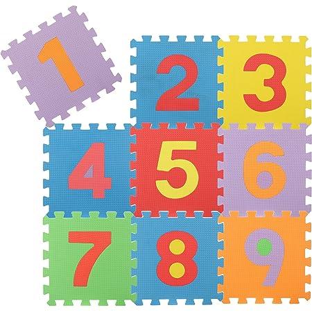 com-four® Puzzle de Sol 9 pièces, Tapis de Puzzle Souples avec Les Chiffres de 1 à 9, idéal pour Les Enfants à partir de 2 Ans [Le mélange de Couleurs varie] (Nombres)