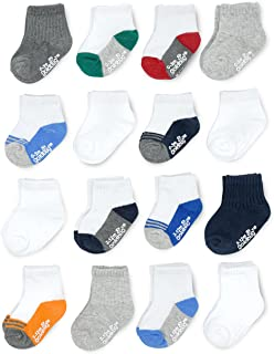 Goldbug Baby & Toddler Boys - Multi Size 16-Pack Grow-With-Me Socks - Cooling & Breathable Cotton Stretch