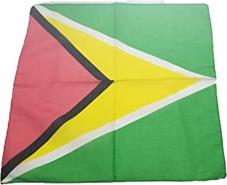 BUNFIREs ONE Guyana FLAG Guyanese Bandana Bandanna BIKER DURAG HEAD WRAP SCARF LARGE SIZE: 22 X 22