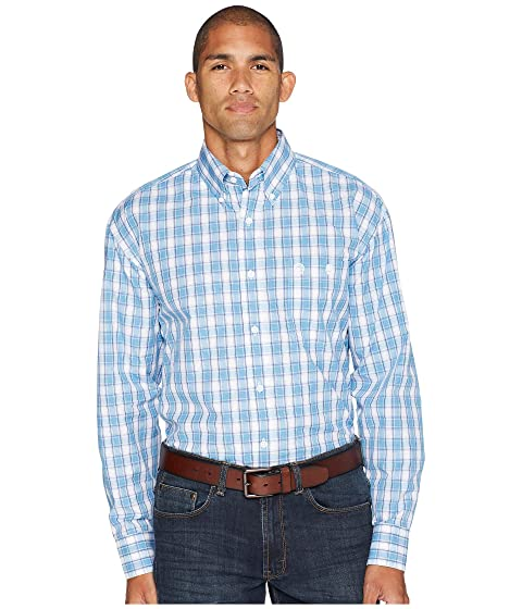Wrangler George Strait Blue and White Long Sleeve Button Plaid Shirt