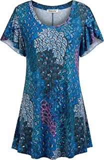 Womens Tunic Tops Short Sleeve Scoop Neck Loose Long Floral Dressy Shirt Blouses