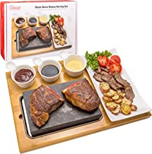 """Cooking Stone- Complete Set Lava Hot Steak Stone Plate Tabletop Grill and Cold Lava Rock Hibachi Grilling Stone (8 1/8"""" x 5 3/16"""") w Ceramic Side Dishes and Bamboo Platter"""